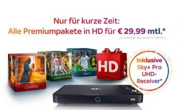 Alle Sky Premium Pakete + Sky+ Pro UHD-Receiver für nur 29,99 EUR im Monat!