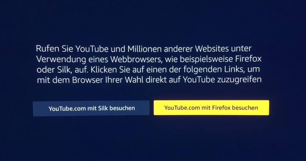 Wer die Youtube App auf einem Fire TV-Gerät öffnet, bekommt folgende Meldung