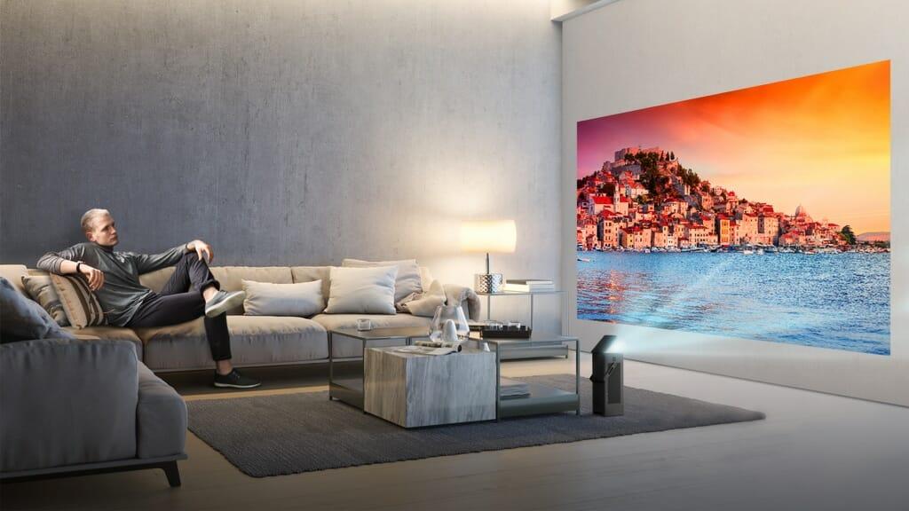 hu80ks lg 4k laser projektor zaubert auf bis zu 150 zoll. Black Bedroom Furniture Sets. Home Design Ideas