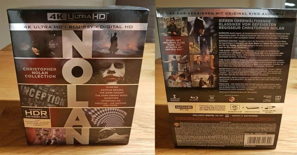 Die Nolan 4K Blu-ray Collection macht sich ganz gut im Film-Regal