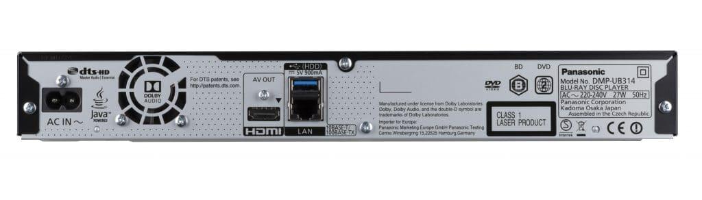 Auf der Rückseite des Panasonic DMP-UB314 findet man nur noch die wichtigsten Anschlüsse vor