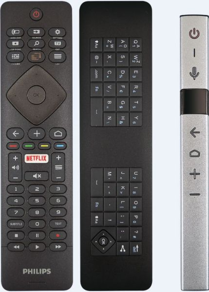 """Den neuen OLED TVs aus 2018 liegen gleich zwei Fernbedienungen bei. Eine klassische Fernbedienung mit Tastatur auf der Rückseite, sowie die neue """"Stick""""-Fernbedienung"""