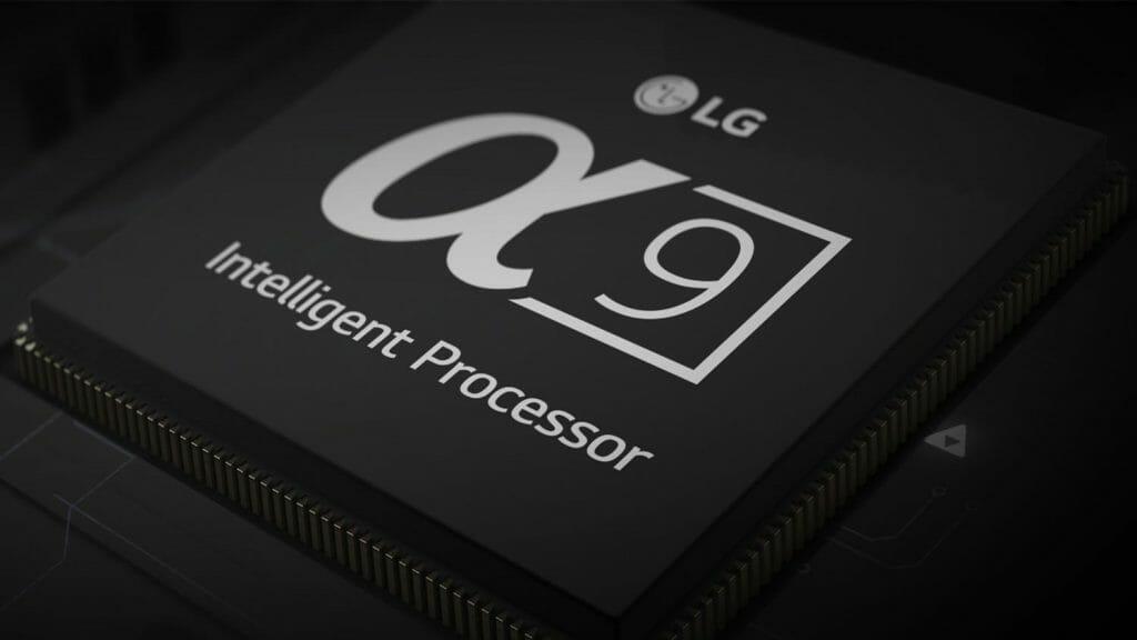 """Der LG A9 """"alpha"""" Prozessor kommt in den C8, E8 und W8 Serien zum Einsatz. Der B8 OLED nutzt einen etwas """"schwächeren"""" A7 Prozessor"""