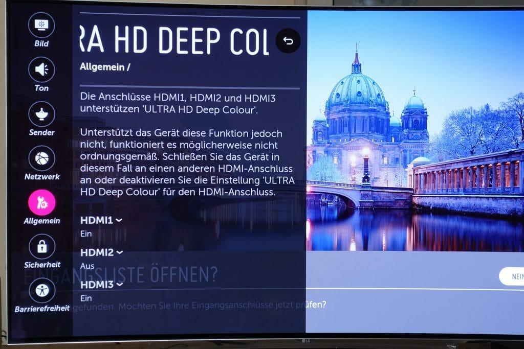 Über das Einstellungs-Menü des LG OLED TVs deaktivieren wir die Ultra HD Deep Color Option am HDMI 2 Anschluss an dem der Sony 4K Player angeschlossen ist