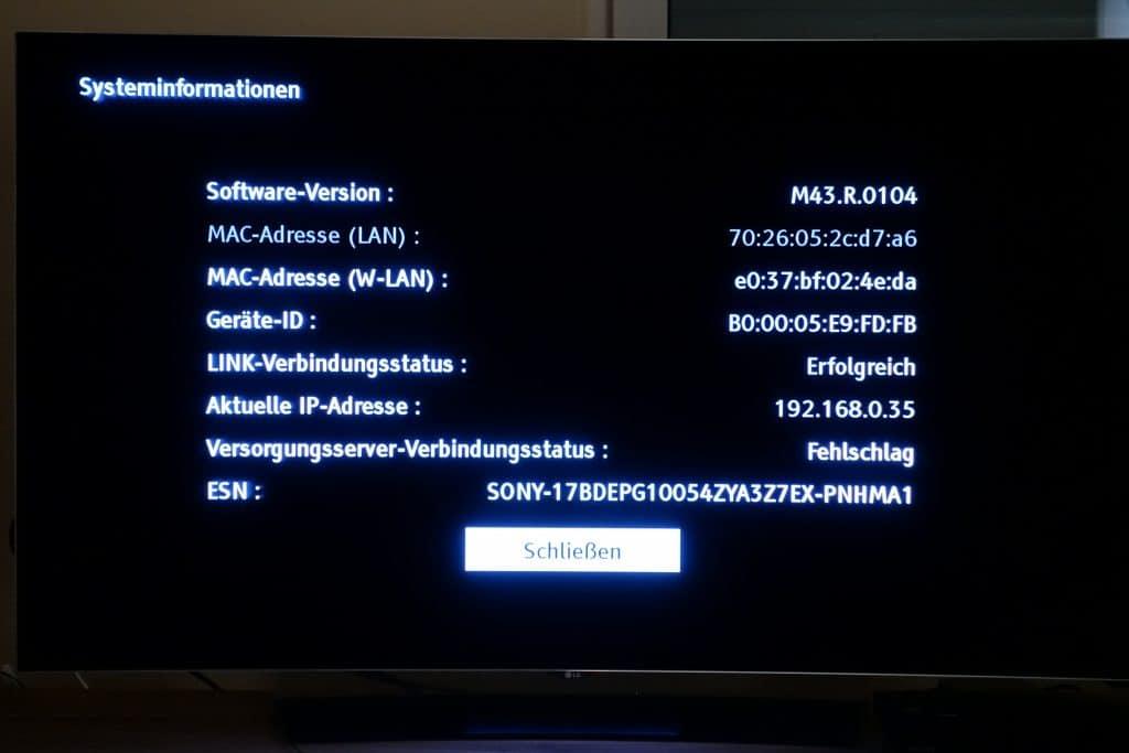 Der Fehler trat unter der Software-Version M43.R.0104 auf. Ein Update stand zum Zeitpunkt des Tests nicht zur Verfügung