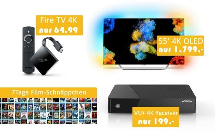 Reduzierte 4K OLED TVs mit Ambilight, 7 Tage Filmschnäppchen Aktion, Fire TV 4K für nur 64,99 EUR uvm.