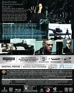 Die Rückseite der Matrix 4K Blu-ray (US-Version) ist mit dem Dolby Vision & Dolby Atmos Logo versehen