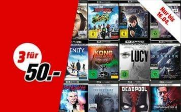 Drei 4K UHD Blu-rays aus über 140 Aktions-Titeln auswählen und nur 50 EUR zahlen