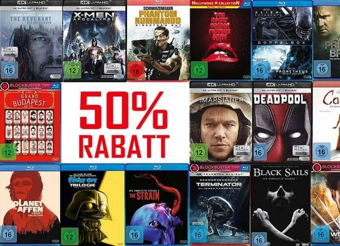 50% auf DVDs, Blu-rays und 4K UHD Discs sparen!
