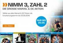 Saturn startet seine große Nimm 3 - Zahl 2 Aktion auf Filme & Serien von DC Comics und Marvel