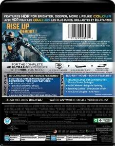 """Die Rückseite der niederländischen 4K Blu-ray von """"Pacific Rim: Uprising"""""""