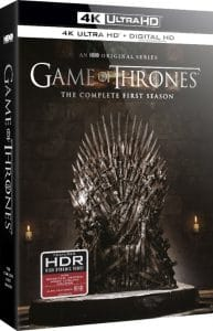 "Der US-Packshot der 4K Blu-ray von ""Game of Thrones - Staffel 1"" - Der eiserne Thron ist leer"