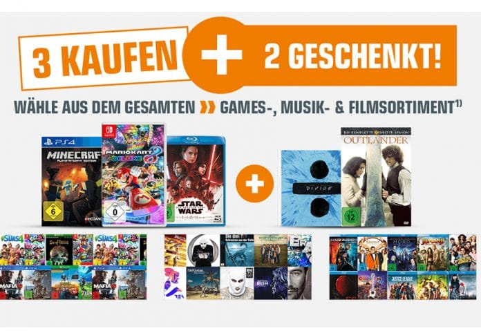 Bis zu 40% auf 4K Blu-rays, Blu-rays, Serien, Games und Musik sparen - Fünf Artikel kaufen und die günstigsten zwei geschenkt bekommen!