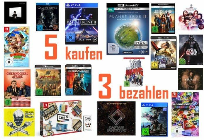 Kauft 5 Filme, Games oder Musiktitel und zahlt nur 3 (die zwei günstigsten gibt es geschenkt