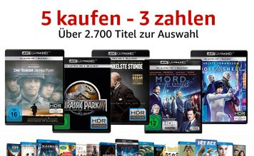 """Bis zu 40% sparen mit der """"5 Kaufen - 3 Zahlen"""" Aktion auf 4K Blu-rays, Box-Sets, Serien, Blu-rays uvm."""