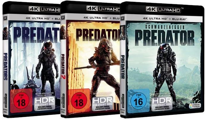 """Die finalen Cover der 4K Blu-rays von """"Predator"""", """"Predator 2"""" und """"Predators"""""""