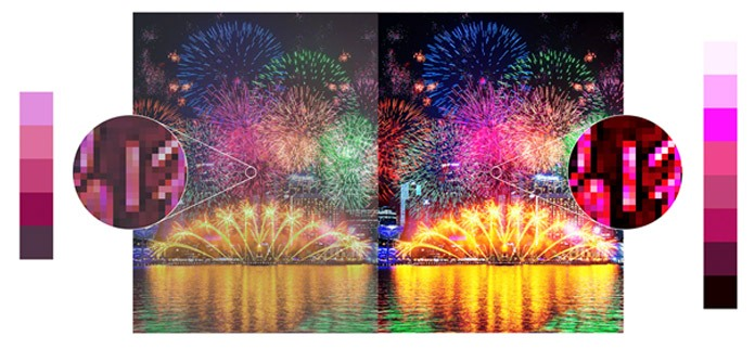 Der Pixel Contrast Booster bringt mehr Farbnuancen in die hellen Bildbereiche