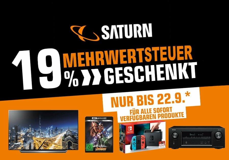 Angebote bei Saturn und MediaMarkt: 19 Prozent Mehrwertsteuer zurück