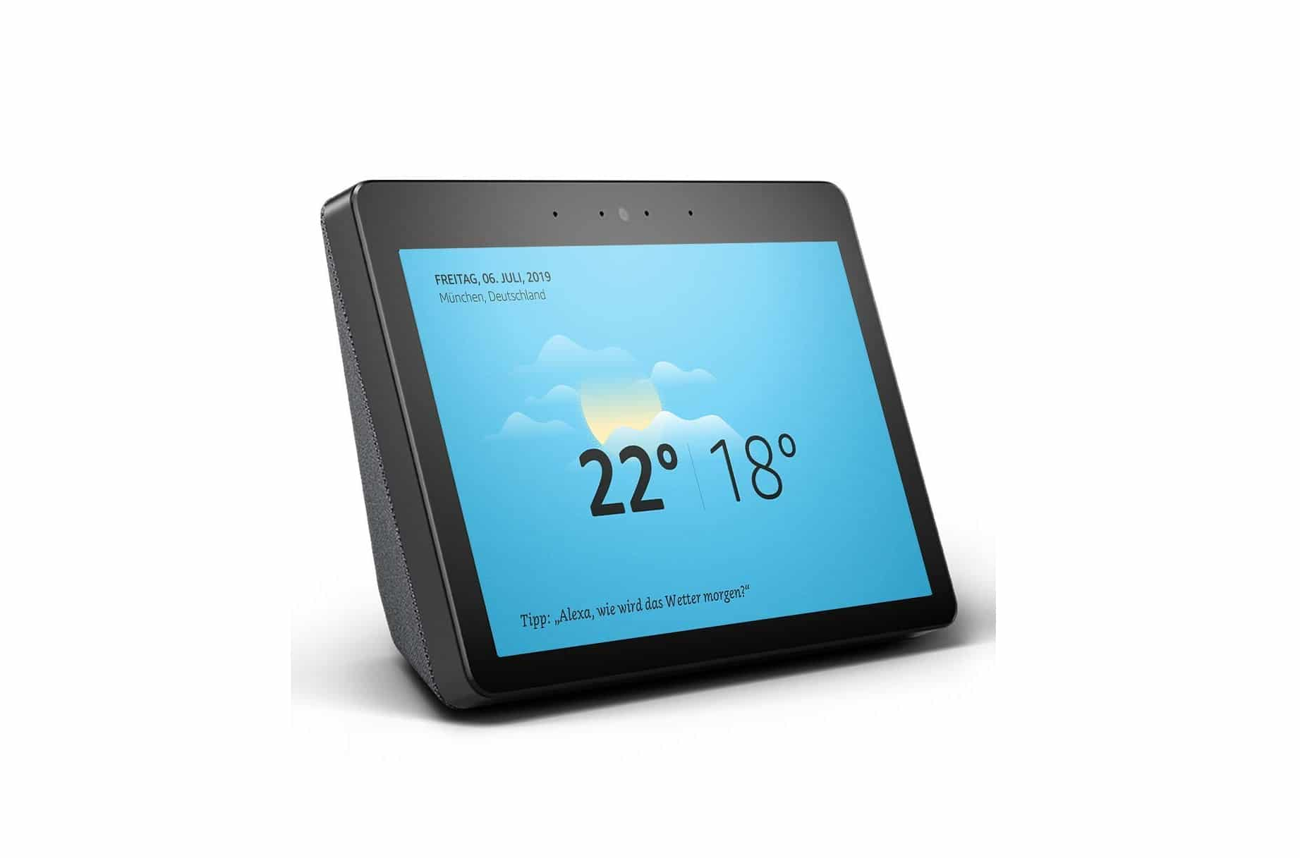 amazon echo show schickes re design mit 10 zoll display. Black Bedroom Furniture Sets. Home Design Ideas