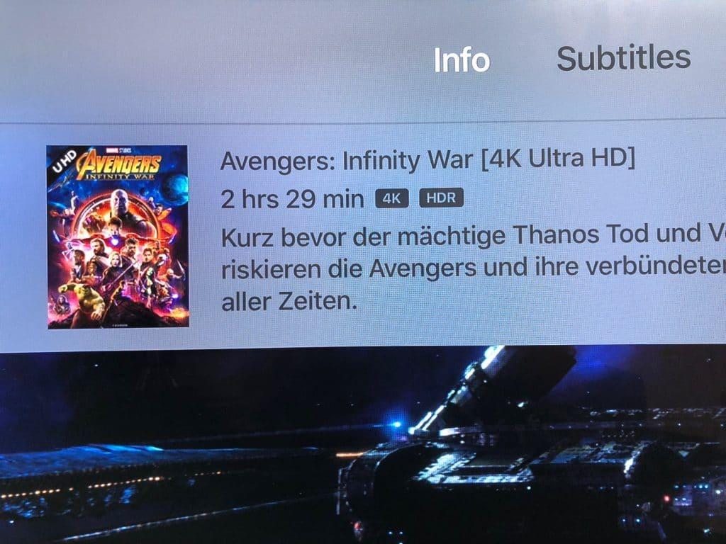 Die Wiedergabe auf dem Apple TV 4K gibt uns die Bestätigung. Avengers: Infinity War wird in 4K/HDR via Prime Video abgespielt