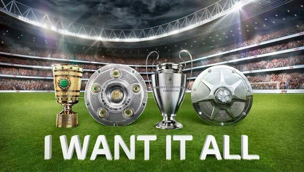 """Sky wirbt mit dem Slogan """"I WANT IT ALL"""" und verspricht dem Kunden alle großen Fußball-Wettbewerbe"""