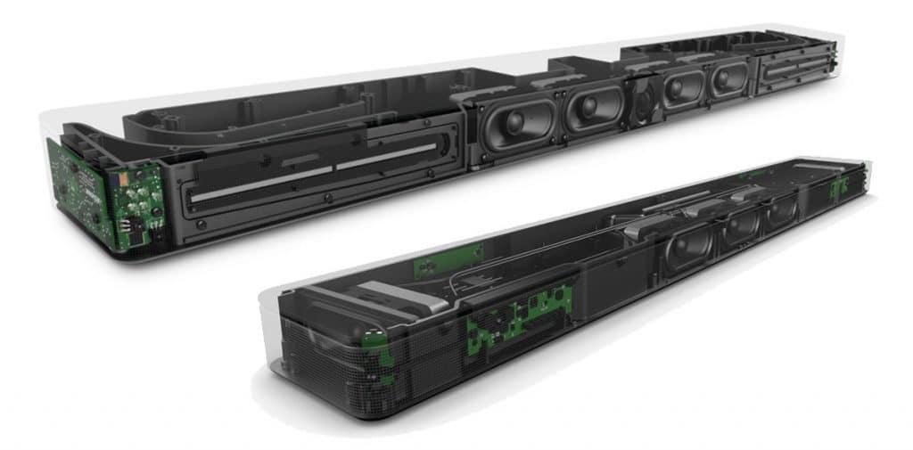 Die Ausmaße und die Anordnung der technischen Komponenten unterscheiden sich beim Soundbar 700 & 500. Z.B. verfügt der Soundbar 500 nicht über die länglichen PhaseGuide-Techologie-Lautsprecher
