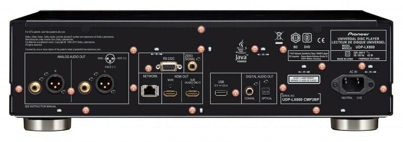 Die Anschlüsse des UDP-LX800 sind für Digital- (2x HDMI, optisch Toslink) sowie Analog-Fans (vergoldete Cinch oder XLR-Anschlüsse) vollkommen ausreichend