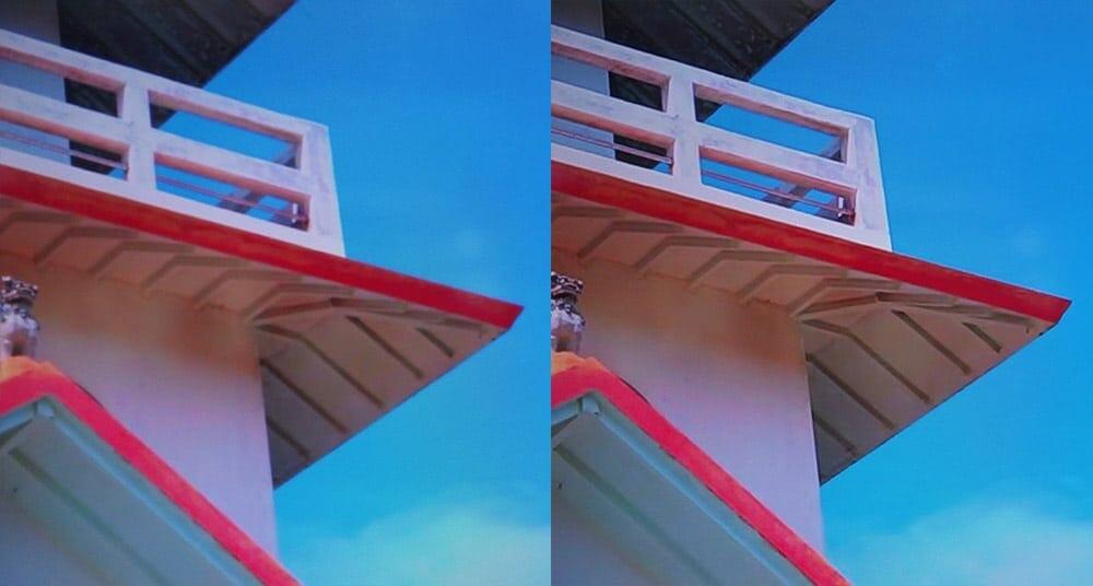 Der Upscaling-Algorithmus in Aktion. Links das HD-Signal, rechts das hochskalierte 8K-Bild (Bildquelle: cool3c.com)