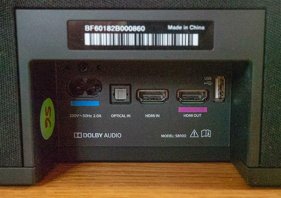 Anschlüsse der Sky-Soundbox auf der Rückseite (von links): Stromzufuhr, digital-optischer Eingang (Toslink), HDMI-Eingang, HDMI-Ausgang, USB 2.0