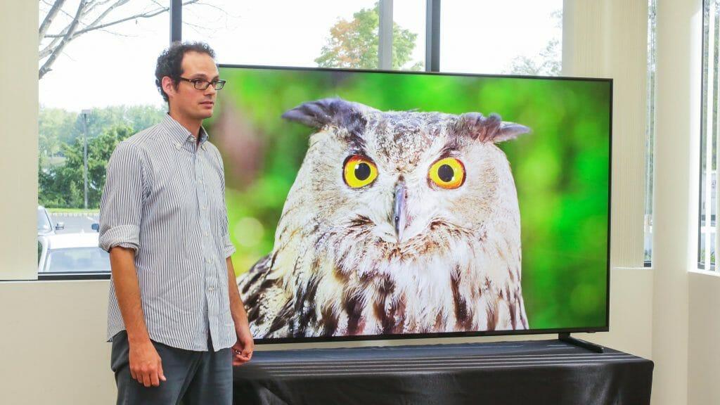 David Katzmeier neben Samsung Q900 8K Fernseher || Bildquelle: Sarah Tew/Cnet