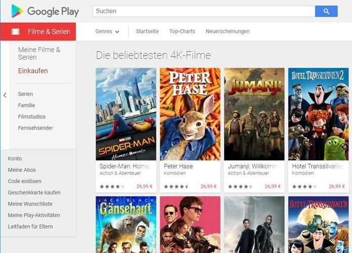 Die Auswahl an 4K Filmen im Google Play Store ist mit 39 Titeln von Sony Pictures doch recht übersichtlich