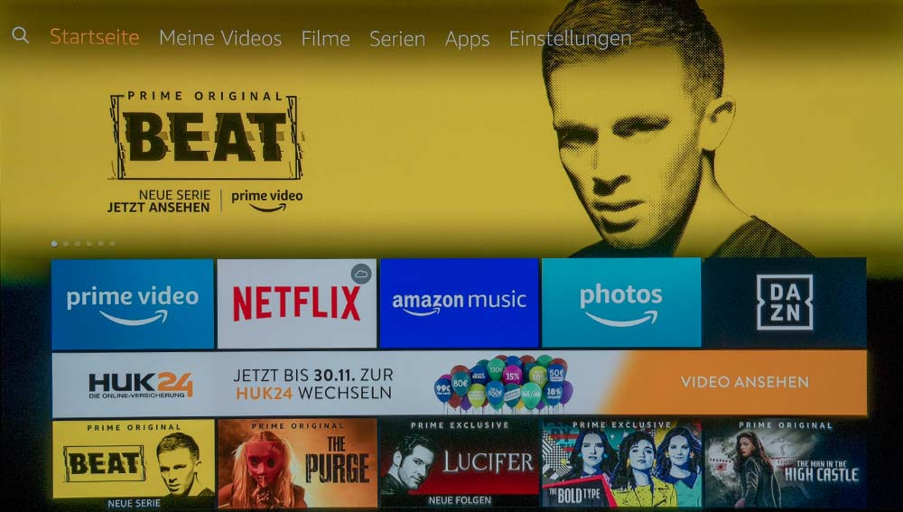 Der Home-Screen des Fire TV Stick 4K ist übersichtlich und klar stukturiert