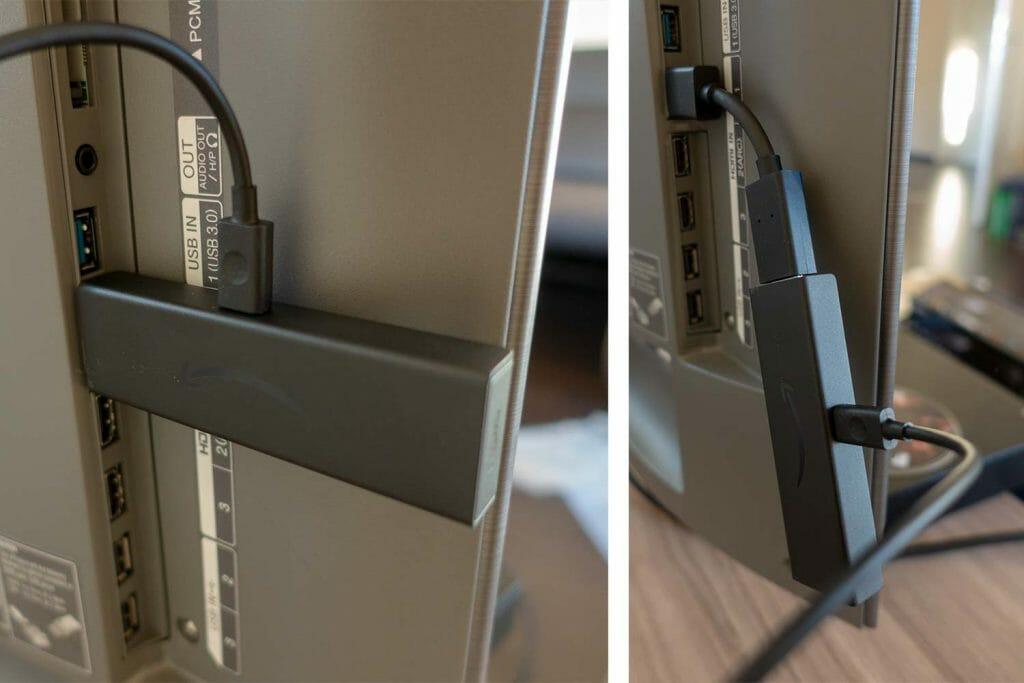 Fire TV Stick 4K direkt oder mit HDMI-Verlängerung angeschlossen