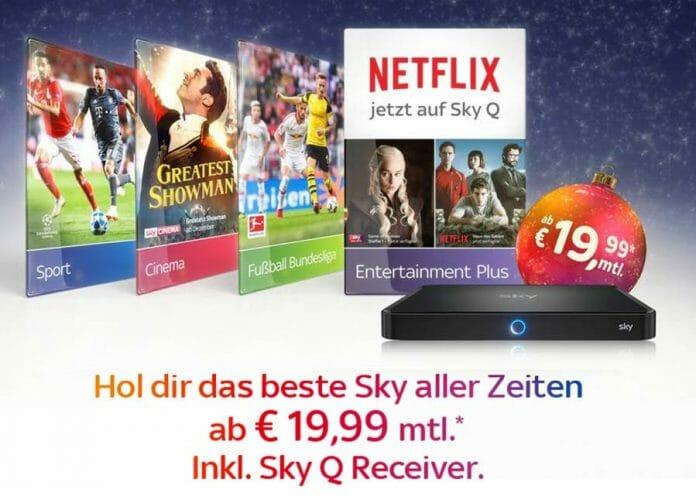 Sky feiert Netflix-Start mit Vorteilspaket. Sky inkl. Sky Q Receiver ab 19.99 Euro!