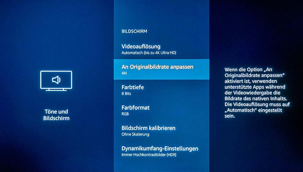 Einstellungen für die Videoausgabe inkl. Auflösung, Bitrate, HDR uvm.