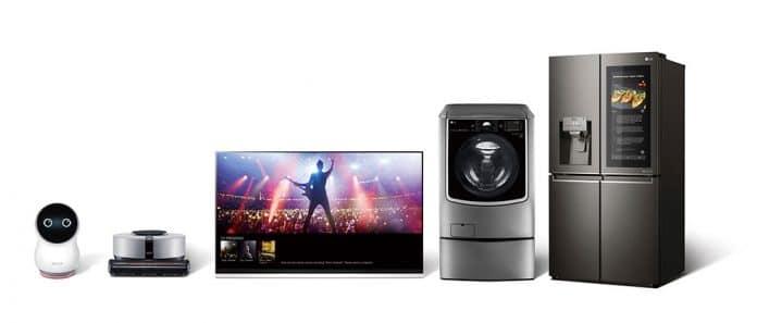 Die Abbildung von LG zeigt Highlight-Produkte aus dem 2019-Lineup mit ThinQ-Integration