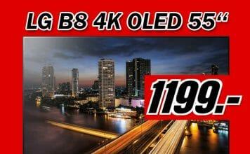 Im neuen MediaMarkt-Prospekt wird der LG B8 4K OLED TV für günstige 1199 Euro angeboten