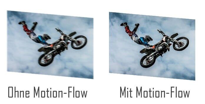 Darstellung mit und ohne Motion Flow (Zwischenbildberechnung)