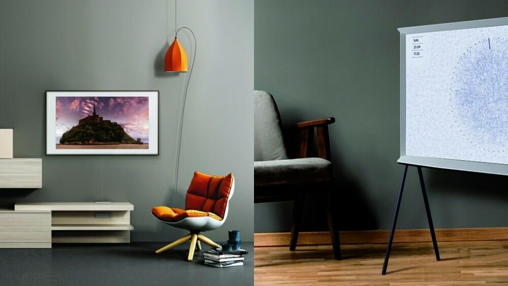 neue lifestyle tvs the frame und serif tv mit qled auf. Black Bedroom Furniture Sets. Home Design Ideas