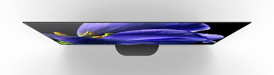 Sonys AG9 OLED in 77 Zoll von oben. Der KD-77AG9 hat nun einen abgerundeten Standfuß