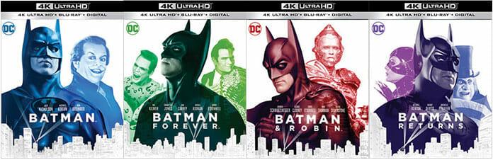 Die US-Cover der vier Batman Filme auf 4K Blu-ray