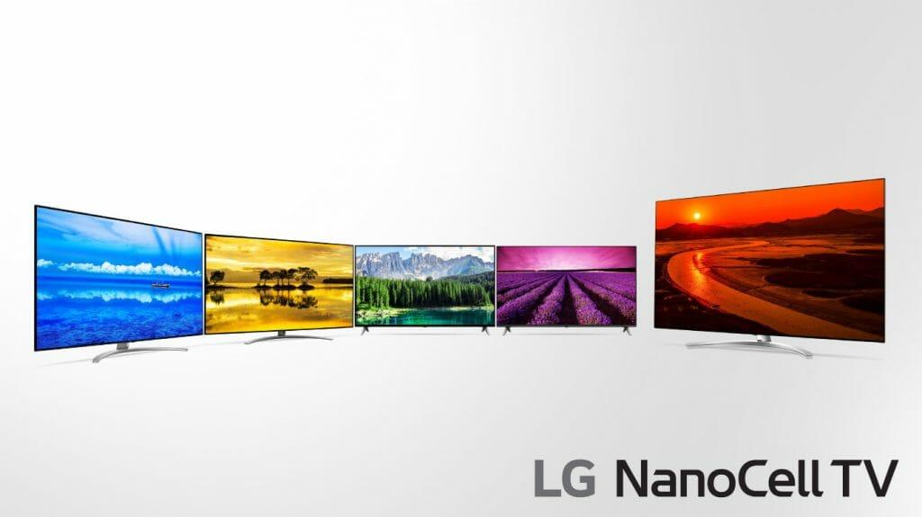 Erste Abbildung der LG 2019 NanoCell TVs. Das Modell ganz rechts müsste der 75 Zoll SM99 8K TV sein