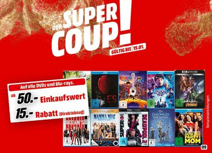 Mit dem MediaMarkt Super Coup bis zu 30% auf DVDs, Blu-rays und 4K Blu-rays sparen!