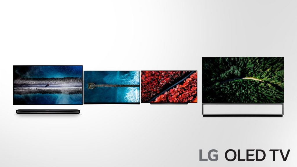 Die erste Abbildung aller 2019 OLED TVs. Von Links: W9, E9, C9 und Z9 (8K)