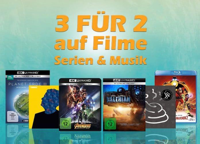 Drei Filme, Serien oder CDs kaufen und nur zwei zahlen! Bis zu 33% sparen!