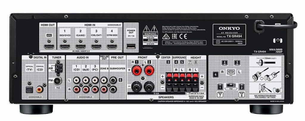 Der TX-SR494 hat zwei zusätzliche Anschlüsse für die Höhen-Lautsprecher (Height). Ansonsten unterscheidet sich das Anschluss-Panel nicht zum TX-SR393