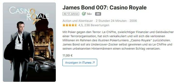 """""""James Bond 007: Casino Royale"""" und weitere James Bond 4K Filme sind über den iTunes Leak im Netz gelandet"""