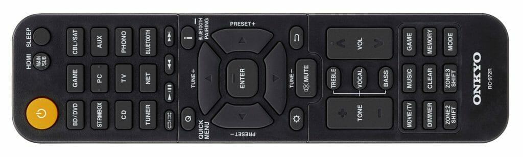 Dem TX-NR696 liegt die neue Fernbedienung RC-972R bei, die dem Nutzer unter anderem direkte Anpassung der Höhen und des Bass ermöglicht.