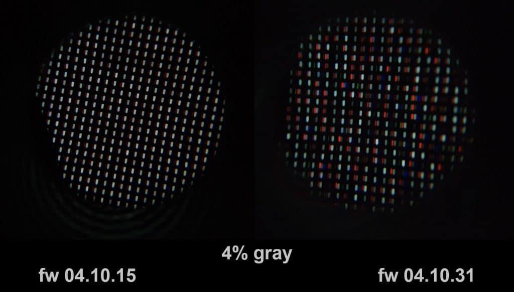 Unterschiedlichen Dithering auf einem C8 OLED TV mit Firmware 04.10.15 und 04.10.31 (Bildquelle: avforums.com / j82k)
