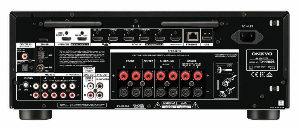 Alles wichtige vorhanden. Sieben HDMI-Eingänge (1x Front) und zwei HDMI-Ausgänge in der Version 2.0 mit HDCP 2.2 sollten für die meisten Heimkinos ausreichen